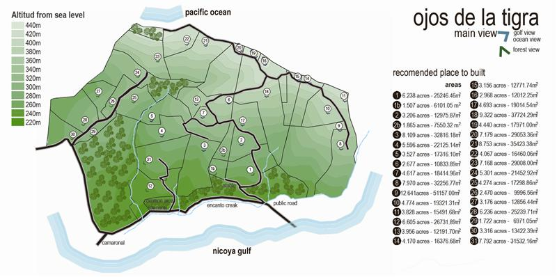 Costa Rica Map of Ojos de la Tigra